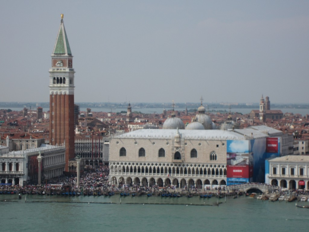 View of Venice from the top of the belltower at San Giorgio Maggiore