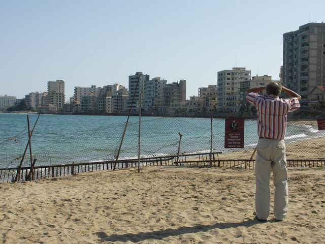 The ghost town of Varosha beyond the fence