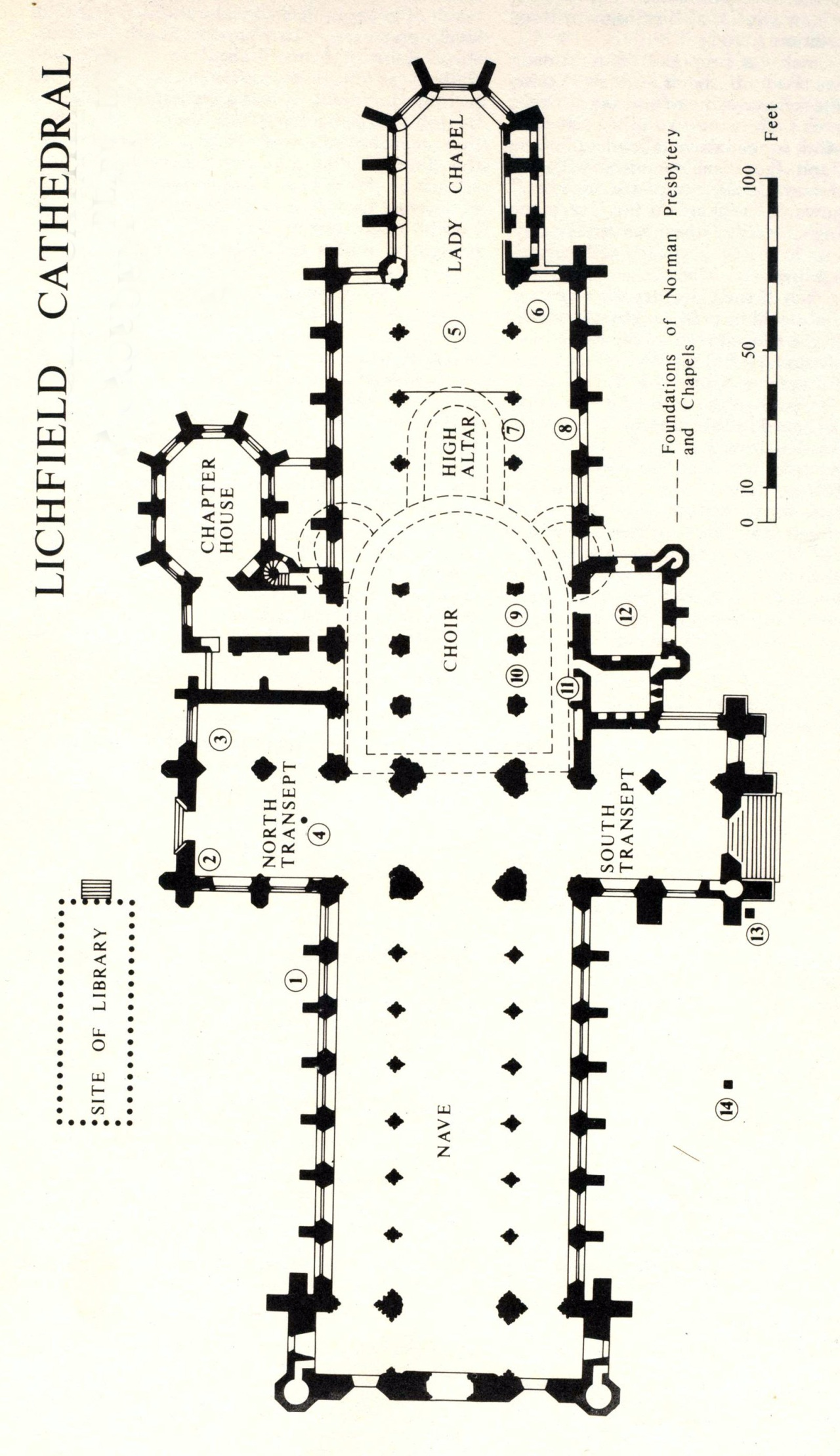 Lichfield Cathedral plan, courtesy of wikipedia