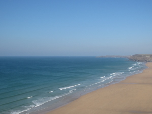 View of Watergate Bay from the cliffs above