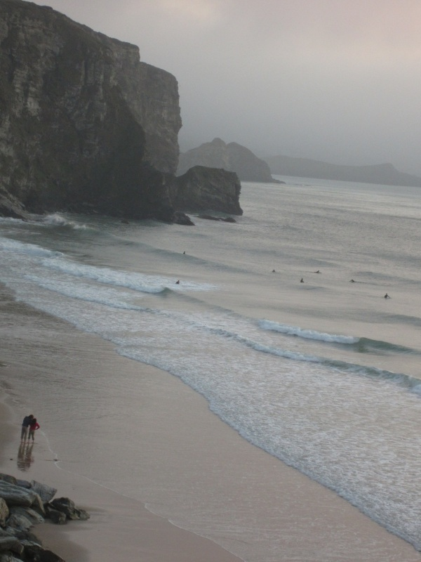 The cliffs of Watergate Bay at dusk