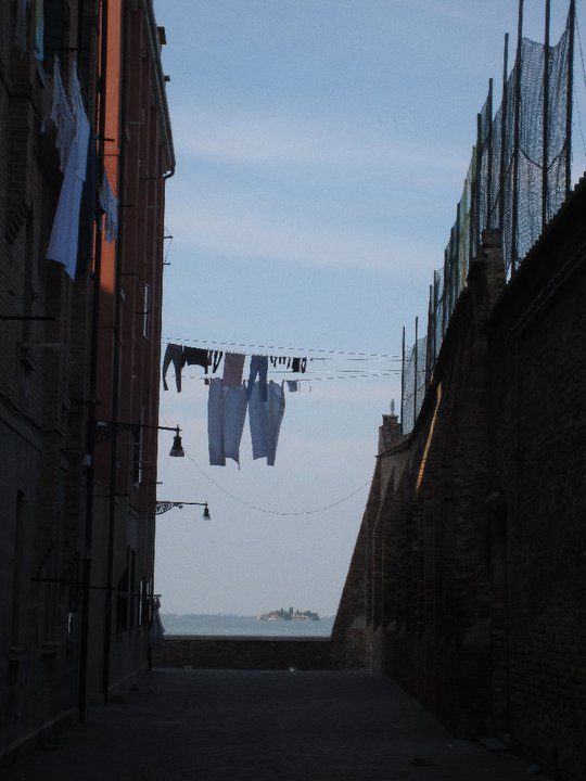 Washing hanging out in Cannaregio, with San Michele island in the background