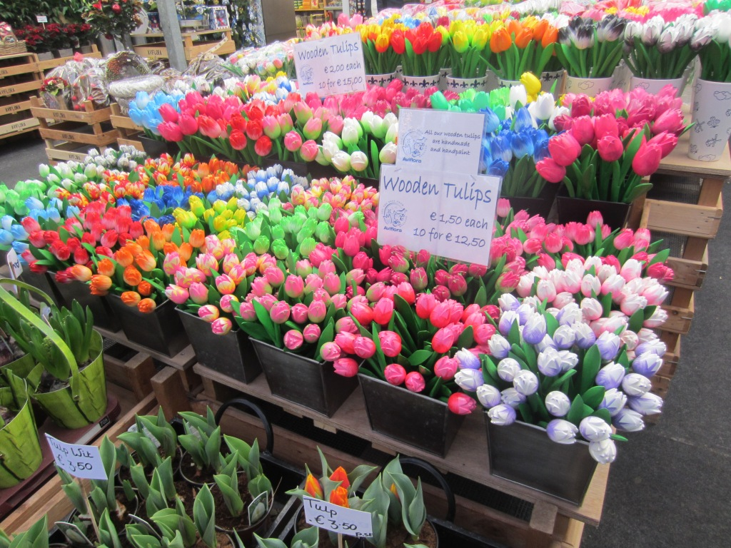 Wooden tulips for sale in Amsterdam's flower market