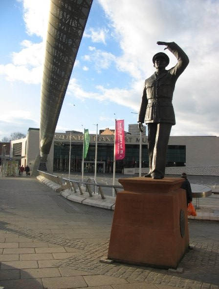 Statue of Coventry's favourite son, Sir Frank Whittle, inventor of the jet engine, outside the entrance to the Transport Museum