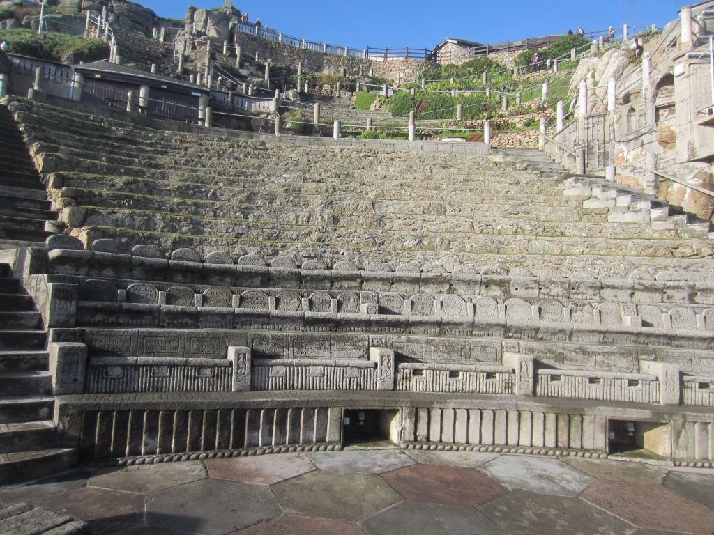 On the stage at the Minack Theatre