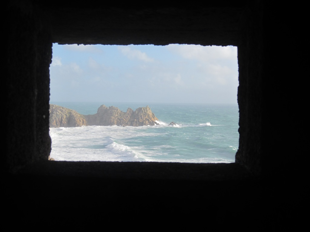 View of Logan's Rock from inside the WWII lookout hut