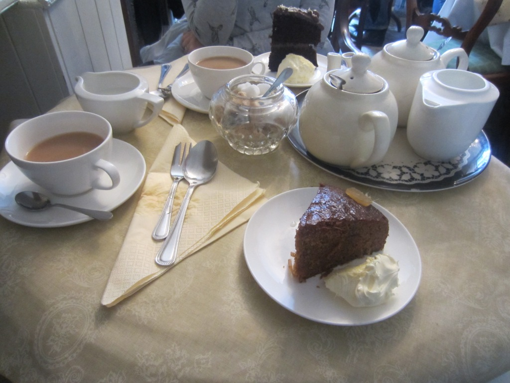 I can highly recommend the sticky ginger cake and clotted cream, washed down with a pot of Cornish Tregothnan tea.