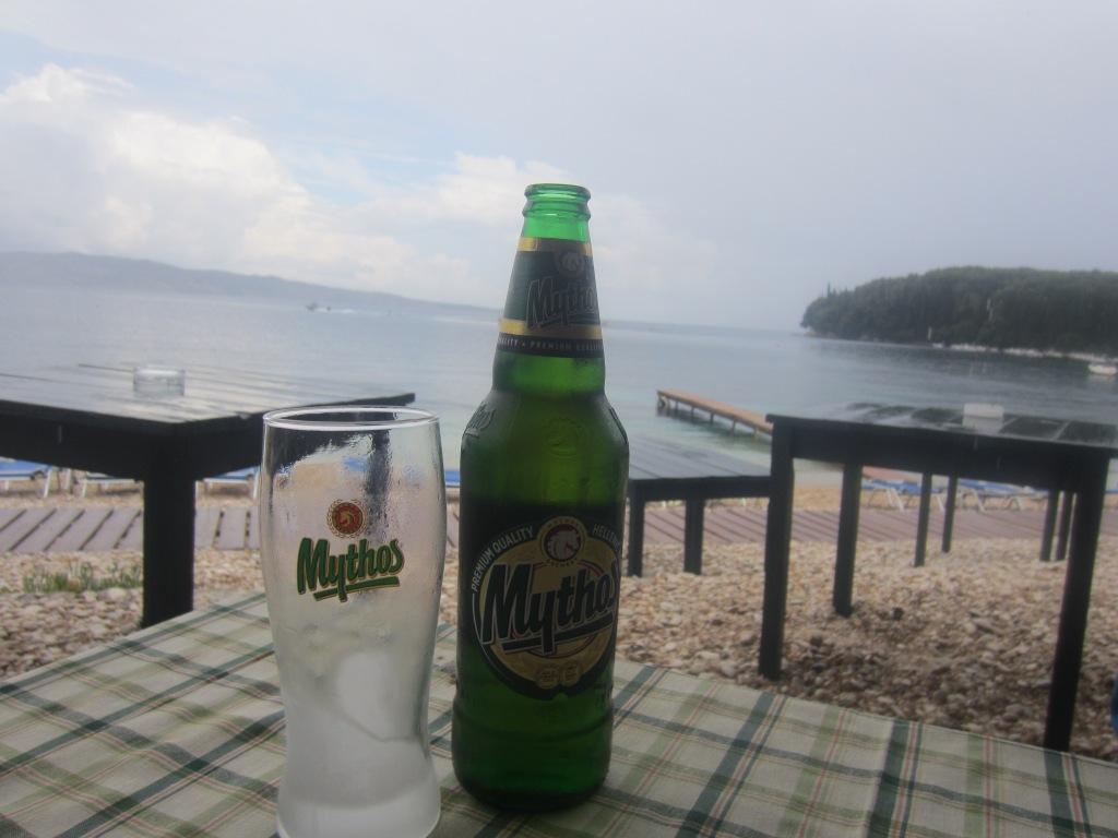 Mythos at a beachfront restaurant - Yamas!