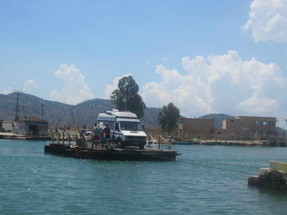 The car 'ferry' across Lake Butrint